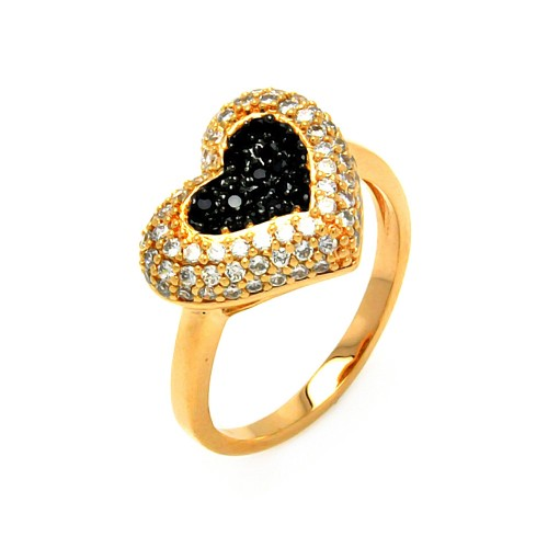 -Closeout- Wholesale Sterling Silver 925 Gold and Black Rhodium Plated Clear and Black Pave Set Heart Ring - BGR00605