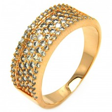 Wholesale Sterling Silver 925 Rose Gold Plated Micro Pave CZ Ring - BGR00608