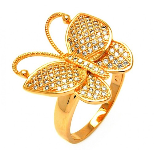 -Closeout- Wholesale Sterling Silver 925 Rose Gold Plated Clear Micro Pave CZ Butterfly Ring - BGR00609
