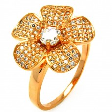 **Closeout** Wholesale Sterling Silver 925 Rose Gold Plated Clear Micro Pave CZ Flower Ring - BGR00610