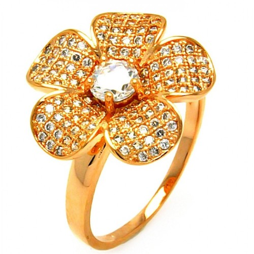 -Closeout- Wholesale Sterling Silver 925 Rose Gold Plated Clear Micro Pave CZ Flower Ring - BGR00610