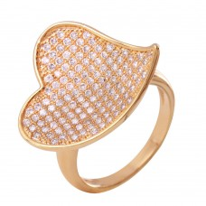 **Closeout** Wholesale Sterling Silver 925 Rose Gold Plated Clear Micro Pave CZ Heart Ring - BGR00611