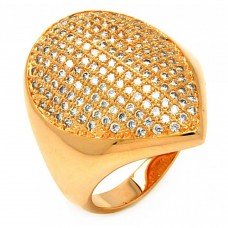 **Closeout** Wholesale Sterling Silver 925 Rose Gold Plated Clear Micro Pave CZ Pointed Ring - BGR00612