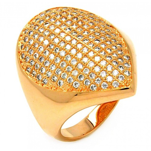 -Closeout- Wholesale Sterling Silver 925 Rose Gold Plated Clear Micro Pave CZ Pointed Ring - BGR00612
