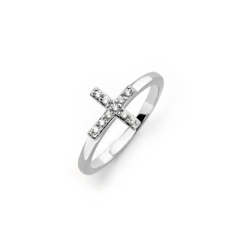 Wholesale Sterling Silver 925 Rhodium Plated Clear CZ Mini Cross Ring - BGR00614