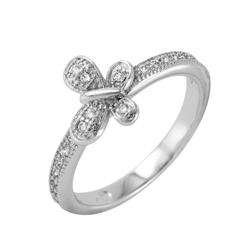Wholesale Sterling Silver 925 Rhodium Plated Clear Pave Set CZ Butterfly Ring - BGR00615