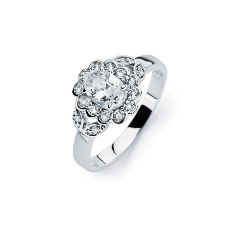 Wholesale Sterling Silver 925 Rhodium Plated Clear Cluster CZ Flower Ring - BGR00730
