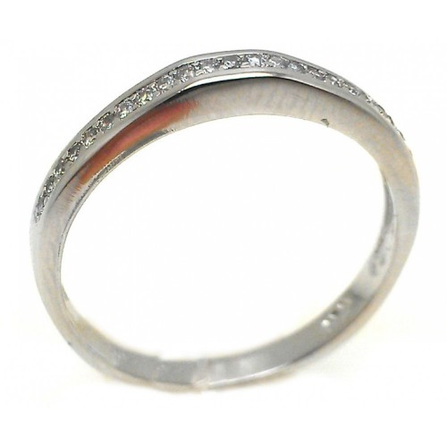 Wholesale Sterling Silver 925 Rhodium Plated Channel Set Clear CZ Ring - BGR00834