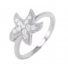 Sterling Silver Rhodium Plated Clear Pave Set CZ Starfish Ring - BGR00937