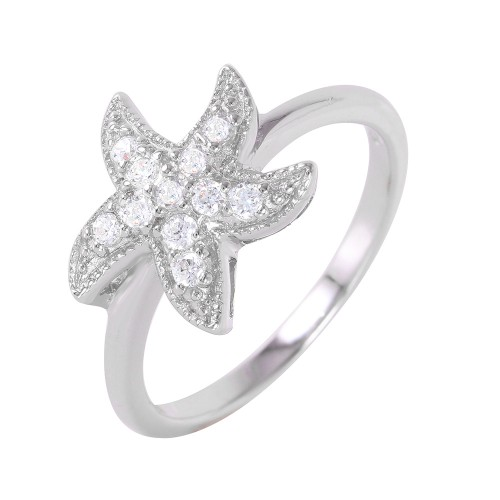 Wholesale Sterling Silver 925 Rhodium Plated Clear Pave Set CZ Starfish Ring - BGR00937