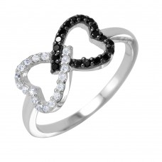 Wholesale Sterling Silver 925 Rhodium and Black Rhodium Plated Open Twin Heart Ring - BGR00942