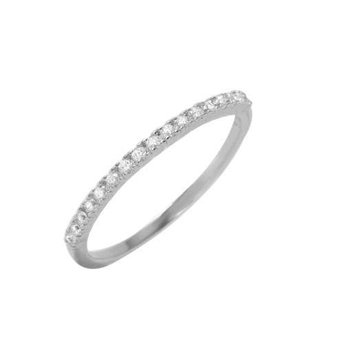 Wholesale Sterling Silver 925 Rhodium Plated Half Clear Pave Set CZ Ring - BGR00945