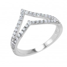 Sterling Silver Rhodium Plated Clear Pave Set CZ Double Chevron Ring - BGR00948
