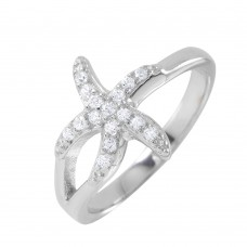Sterling Silver Rhodium Plated Clear Pave Set CZ Small Skinny Starfish Ring - BGR00950