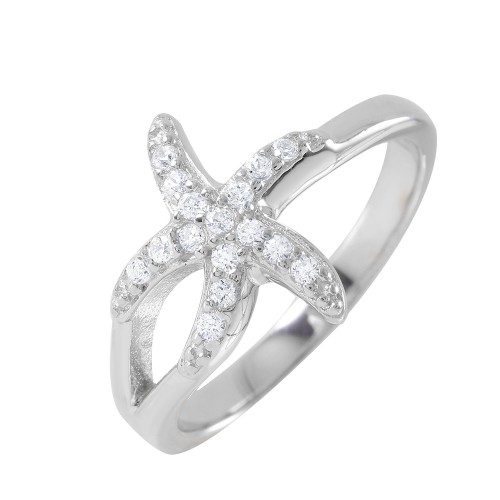Wholesale Sterling Silver 925 Rhodium Plated Clear Pave Set CZ Small Skinny Starfish Ring - BGR00950