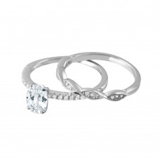 Wholesale Sterling Silver 925 Rhodium Plated Clear CZ Twist Bridal Wedding Ring Set - BGR01008