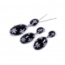 ***CLOSEOUT*** Wholesale Sterling Silver 925 Oval Onyx Clear CZ Flowers Dangling Stud Earring and Dangling Necklace Set - BGS00048