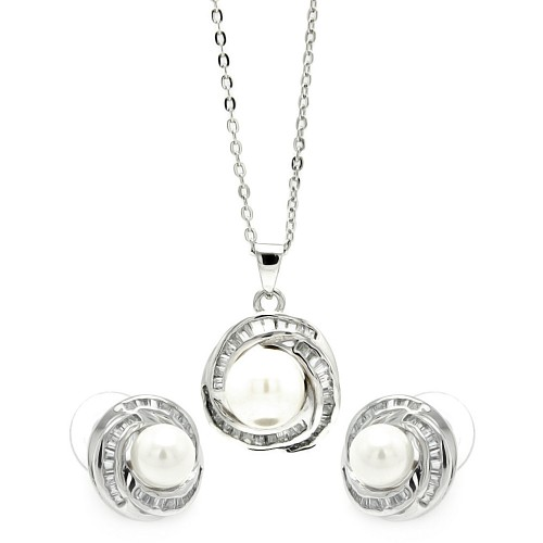 Wholesale Sterling Silver 925 Rhodium Plated Clear Baguette CZ Pearl Center Stud Earring and Necklace Set - BGS00207