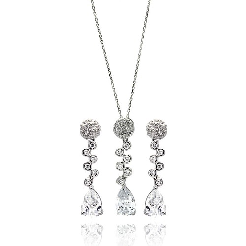 Wholesale Sterling Silver 925 Rhodium Plated Clear Round and Teardrop CZ Drop Stud Earring and Necklace Set - BGS00293