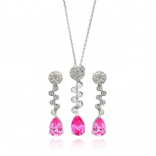 Wholesale Sterling Silver 925 Rhodium Plated Clear and Pink Round and Teardrop CZ Drop Stud Earring and Necklace Set - BGS00294