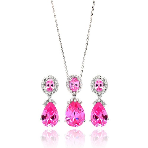 Wholesale Sterling Silver 925 Rhodium Plated Clear and Pink Round and Teardrop CZ Dangling Stud Earring and Dangling Necklace - BGS00298