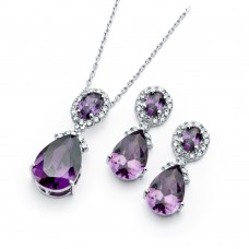 Wholesale Sterling Silver 925 Rhodium Plated Purple and Clear Teardrop Oval CZ Dangling Stud Earring and Dangling Necklace Set - BGS00300