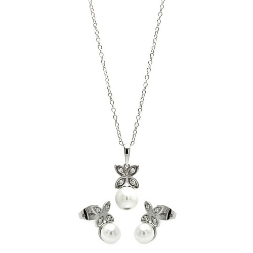 Wholesale Sterling Silver 925 Rhodium Plated Clear CZ Hanging Pearl Butterfly Set - BGS00319