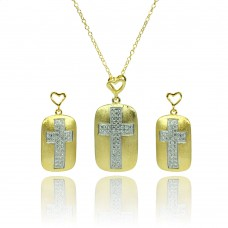 Wholesale Sterling Silver 925 Rhodium and Gold Plated Clear CZ Cross Center Open Heart Dangling Stud Earring and Necklace Set - BGS00382