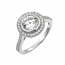 Wholesale Sterling Silver 925 Rhodium Plated Micro Pave CZ Ring - GMR00013