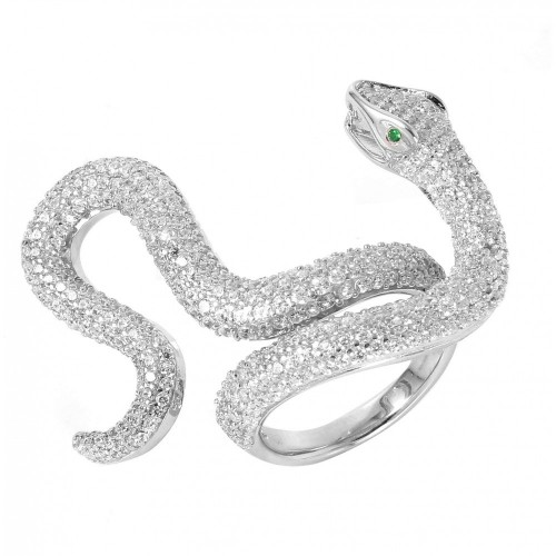 Wholesale Sterling Silver 925 Rhodium Plated Cobra CZ Ring - GMR00037