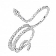 Wholesale Sterling Silver 925 Rhodium Plated Snake CZ Ring - GMR00038
