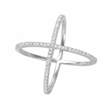 Wholesale Sterling Silver 925 Rhodium Plated 4 Way CZ Cross Ring - GMR00039