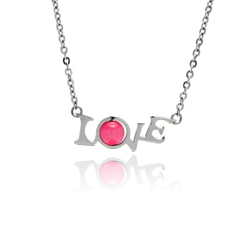 Wholesale Stainless Steel Love Pink Stone - SSN00041