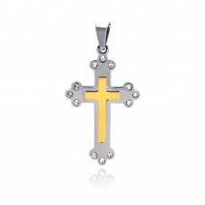 Wholesale Stainless Steel Gold Center Cross Crystal Pendant - SSP00130