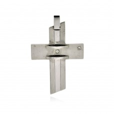 Wholesale Stainless Steel Cross Crystal Center Pendant Charm - SSP00232
