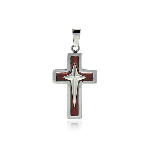 Wholesale Stainless Steel Double Cross Wood Charm Pendant - SSP00394