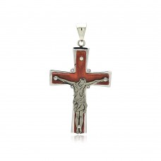 Wholesale Stainless Steel Jesus Wood Cross Crystal Charm Pendant - SSP00407