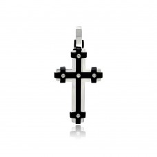 Wholesale Stainless Steel Two Tone Black Rhodium Cross Charm Pendant - SSP00422