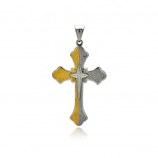 Wholesale Stainless Steel Two Tone Gold Cross Charm Pendant - SSP00441