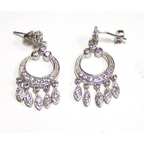 -Closeout- Wholesale Sterling Silver 925 Rhodium Plated Clear CZ Open Circle Dangling Stud Earrings - STE00033