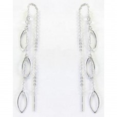 **Closeout** Wholesale Sterling Silver 925 Rhodium Plated Open Marquise Chain Dangling Earrings - STE00041