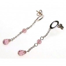 **Closeout** Wholesale Sterling Silver 925 Rhodium Plated Round and Teardrop Pink CZ Dangling Stud Earrings - STE00127