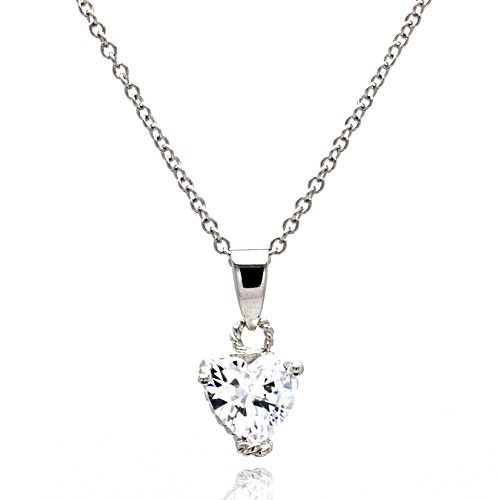 Wholesale Sterling Silver 925 Rhodium Plated Clear Heart CZ Rope Pendant Necklace - STP00090