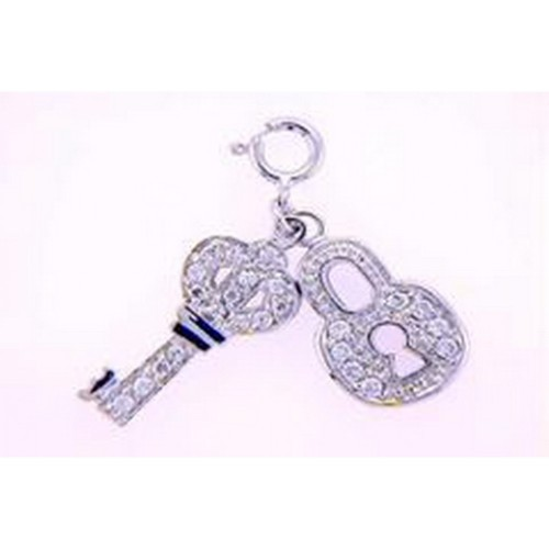 Wholesale Sterling Silver 925 Rhodium Plated Clear CZ Lock and Key Pendant Necklace - STP00127