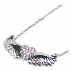 Wholesale Sterling Silver 925 Rhodium Plated Winged Clear Heart CZ Necklace - STP00543