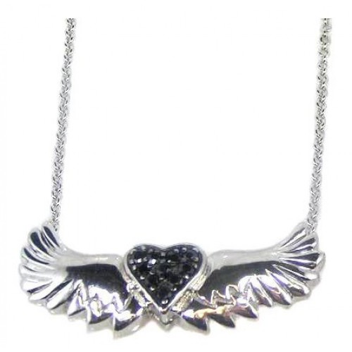 Wholesale Sterling Silver 925 Rhodium Plated Winged Black Heart CZ Necklace - STP00543BLK