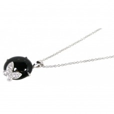**Closeout** Wholesale Sterling Silver 925 Rhodium Plated Round Onyx Clear CZ Butterfly Pendant Necklace - STP00628