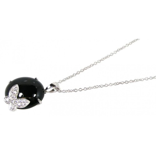 -Closeout- Wholesale Sterling Silver 925 Rhodium Plated Round Onyx Clear CZ Butterfly Pendant Necklace - STP00628
