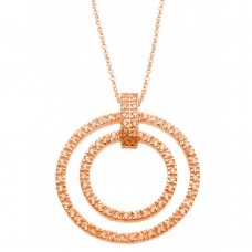 **Closeout** Wholesale Sterling Silver 925 Rose Gold Plated Clear CZ Double Circle Pendant Necklace - STP00920