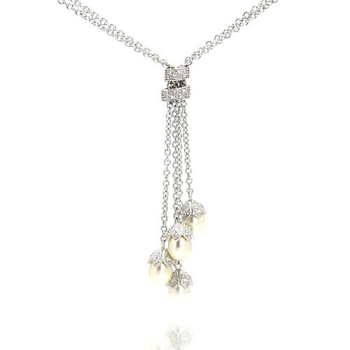 Wholesale Sterling Silver 925 Rhodium Plated Pearl Drops CZ Pendant Necklace - STP00928